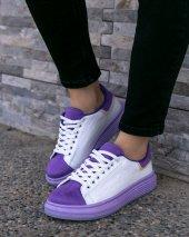 Vicary Beyaz Cilt Lila Tabanlı Spor Ayakkabı