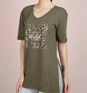 önü Baskılı Moda Haki Renk Yırtmaçlı Kadın T Shirt