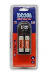 Zoom C-207 Pil Şarj Cihazı 4lü + 2100 mA Pil Hediyeli
