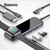 Orjinal Baseus HUB Type-C to 2 x USB3.0+HDMI+ PD+ iWatch Wireless Şarj 4K Aktarım 60w Şarj desteği
