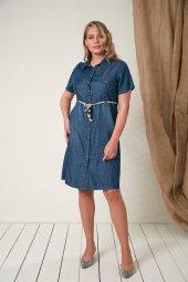 Bel Kemer Detaylı Büyük Beden Kim Mavi Elbise