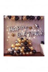 Happy Birthday Doğum Günü Balonu Kombini Gümüş Kb1251 Kb1251