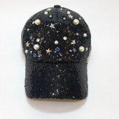 Siyah Beyaz Resif Tasarımı Parlak Süslemeli Bayan Şapka