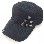 İskelet Ve Yıldız Süslemeli Gri-Siyah Bayan Şapka
