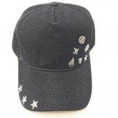 İskelet Ve Yıldız Süslemeli Gri-Siyah Bayan Şapka-3