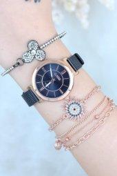 Lacivert Hasır Metal Kordonlu Clariss Bayan Saat Ve Taşlı Bileklik Kombini