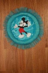 El Yapımı Mavi Miki Fare Çizgi Kahraman İşlemeli Halka Erkek Çocuk Odası Kapı Süsü