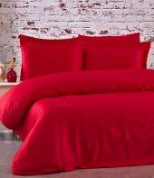 FABRICATOR DELUX %100 Doğal Pamuk Saten Nevresim Takımı Çift Kişilik (6 Parça) Platin Düz Renk-Kırmızı