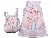 Rapapa Kız Çocuk Çanta Hediyeli Muhteşem Elbise 4172