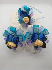 MelKady 004- Mavi Şifon Saten Parlak File Çiçek Buketi Lohusa Terlik ve Taç, 2'li Set