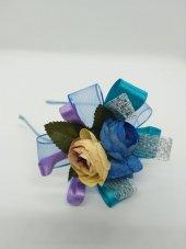 MelKady 004- Mavi Şifon Saten Parlak File Çiçek Buketi Lohusa Terlik ve Taç, 2'li Set-2