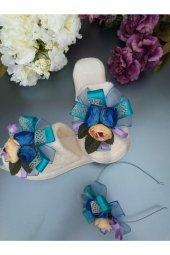 MelKady 004- Mavi Şifon Saten Parlak File Çiçek Buketi Lohusa Terlik ve Taç, 2'li Set-3