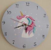 Unicorn Kız Çocuk Duvar Saati Ücretsiz Kargo