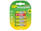 GP 1000 R03 AAA (3+1) ŞARJLI İNCE KALEM PİL 661108
