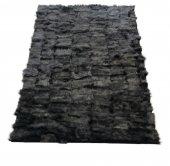 Siyah Doğal Toskana Kuzu Kürk Halı
