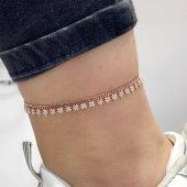 2020 Trend Gurmet Zincir Yoncalı Üst Kalite Gümüş Halhal Bileklik
