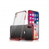 iPhone XS Max Kılıf Lazer Kaplama Silikon Kırmızı