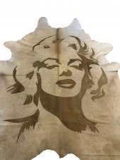 Marilyn Monroe Lazer Baskılı Dana Deri Halı