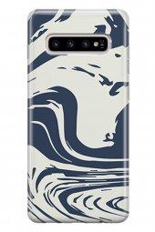 Samsung Galaxy S10 Kılıf Sweet Dreams Ebruli Desenli Lacivert