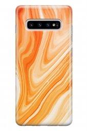 Samsung Galaxy S10 Plus Kılıf Sweet Dreams Ebruli Desenli Turuncu