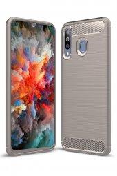 Samsung Galaxy M30 Kılıf Karbon Army Room Silikon Gri