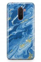 Xiaomi Pocophone F1 Kılıf Marble Mermer Serisi Mavi