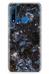 Huawei P20 Lite 2019 Kılıf Marble Mermer Serisi Siyah Mavi