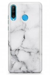 Huawei P30 Lite Kılıf Marble Mermer Serisi Beyaz
