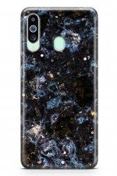 Samsung Galaxy A60 Kılıf Marble Mermer Serisi Siyah Mavi