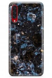 Samsung Galaxy A70s Kılıf Marble Mermer Serisi Siyah Mavi