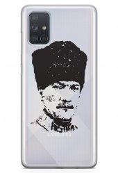 Samsung Galaxy A71 Kılıf Şeffaf Atatürk Serisi Kalpaklı