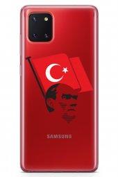 Samsung Galaxy A81 Kılıf Şeffaf Atatürk Serisi Al Bayrak
