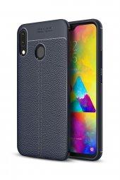 Samsung Galaxy M20 Kılıf Carbon Deri Görünümlü Lacivert