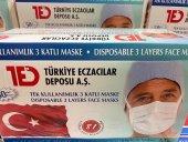 1000 Adet 3 Katlı Medikal Lastikli Cerrahi Yüz Maskesi Burun Telli Ted