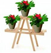 Decolfin Çiçeklik Standı Saksılık Ahşap Çiçeklik 3 Basamaklı Naturel