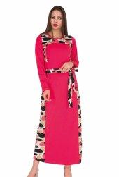 Bayan Pembe  Şerit desenli Uzun elbise 00534
