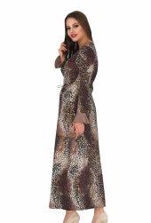 Bayan Kahverengi leopar desenli Uzun elbise 00541