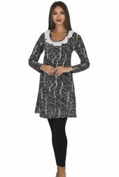 Bayan Antrasit Diz üstü Alt üst elbise 5068-2