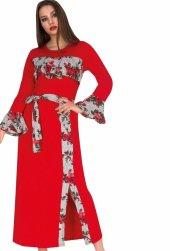 Bayan Kırmızı  Şerit desenli Uzun elbise 00520