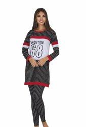 Bayan Siyah şeritli Diz üstü Alt üst elbise 5048-2