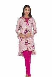 Bayan Pembe çiçekli Diz üstü Alt üst elbise 5050-2