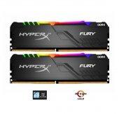 Kingston HyperX  Fury RGB 16GB (2x8) 3000MHz DDR4 HX430C15FB3AK2/16 Gaming Bellek