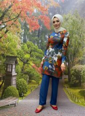 modayns Kadın Mavi Empirme Baskılı İkili Takım