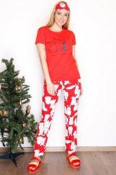 Yarım Kol Penye Pijama Takımı Kırmızı 3532.102.