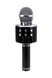 Bluetooth Karaoke Mikrofon Speaker Mp3 Çalar Kart Girişli Siyah Ws858 2
