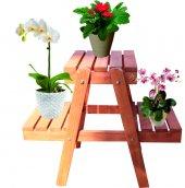 Decolfin Çiçeklik Standı Saksılık Ahşap Çiçeklik 3 Basamaklı Vernikli