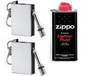 Zippo Benziniyle Çalışan 2 Adet Kibrit Anahtarlık + Zippo Çakmak Gazı 125 Ml