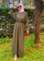 modayns Kadın Haki Düğmeli Belden Lastikli Elbise