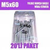 M5x60 Yıldız Havşa Başlı (YHB) Vida/Civata 20 Adet - Ambalajda