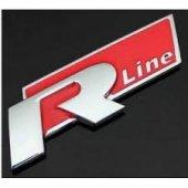 Kırmızı R Lıne Metal Krom Yapıstırmalı Logo Golf Jetta Passat Polo